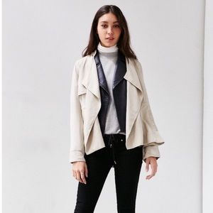 UO Silence + Noise Taupe Kirra Swing Trench Coat